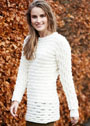 Белый пуловер с волнистым узором. Спицы