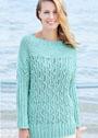 Пуловер мятного цвета с ажурным узором из кос. Спицы