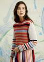 Пуловер в разноцветную полоску. Спицы
