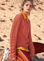 Бруснично-розовый пуловер с ажурными полосами. Спицы