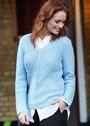 Голубой пуловер с сетчатыми вставками. Спицы