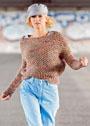 Меланжевый пуловер с сетчатым патентным узором. Спицы