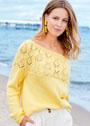 Нежно-желтый пуловер с ажурной кокеткой. Спицы