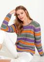 Разноцветный хлопковый пуловер в полоску. Спицы