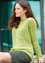 Светло-зеленый ажурный пуловер с косой. Спицы