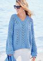 Голубой ажурный пуловер с цельновязаными рукавами. Спицы