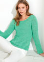 Лаконичный зеленый пуловер, связанный спицами разной толщины. Спицы