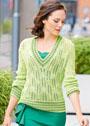 Ажурный пуловер с полосатыми планками. Спицы