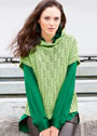 Пуловер с ажурными дорожками и воротником-стойкой. Спицы