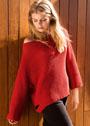 Красный пуловер оверсайз полупатентным узором. Спицы