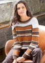 Бело-коричневый пуловер с полосами и сочетанием узоров. Спицы