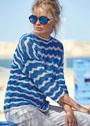Пуловер с сине-серым волнистым узором. Спицы
