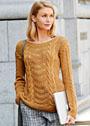 Пуловер цвета корицы с миксом узоров. Спицы