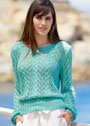 Зеленый ажурный пуловер с присборенными рукавами. Спицы