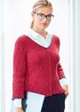 Красный пуловер с рельефным узором в косую полоску. Спицы