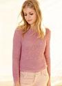 Розовый пуловер с персидским узором. Спицы