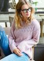 Розовый пуловер с узорчатыми полосамии. Спицы