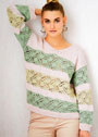 Трехцветный пуловер с полосами ажурных узоров. Спицы