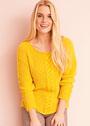 Желтый пуловер с вертикальными косами. Спицы