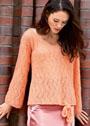 Ажурный персиковый пуловер с завязками. Спицы