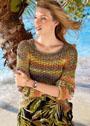 Хлопковый многоцветный пуловер с сетчатым узором. Спицы
