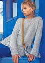 Серебристо-серый пуловер с широкими ажурными планками. Спицы