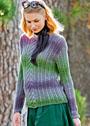 Ажурный пуловер из пряжи с цветовыми переходами. Спицы
