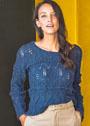 Синий пуловер с ажуром и шишечками. Спицы