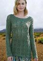Темно-зеленый пуловер с ажурным узором из кос. Спицы