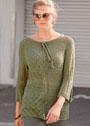 Шелковый пуловер с ромбами и ажурными узорами. Спицы