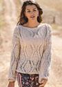 Льняной пуловер с крупным узором из ажурных ромбов. Спицы