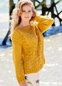 Желтый хлопковый пуловер с ажурным узором и косами. Спицы