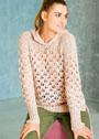 Ажурный пуловер с капюшоном и боковыми разрезами. Спицы