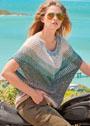 Летний пуловер оверсайз с сетчатым узором. Спицы