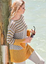Свободный длинный пуловер с ажуром и полосами. Спицы