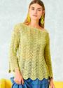 Желто-зеленый пуловер с воздушным волнистым узором. Спицы