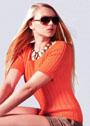 Оранжевый летний  пуловер в рубчик. Спицы