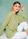 Нежно-зеленый пуловер с рельефно-ажурным узором. Спицы