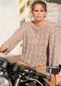 Ажурный бежевый пуловер с рукавами 3/4. Спицы