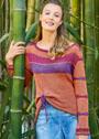 Пуловер с полосами и присборенным передом. Спицы