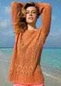 Летний ажурный пуловер оранжевого цвета. Спицы