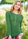 Зеленый хлопковый пуловер с ажурной вставкой. Спицы