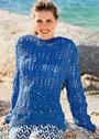 Синий хлопковый пуловер с ажурным узором из кос. Спицы