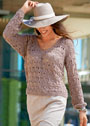 Светло-коричневый ажурный пуловер из льняной пряжи. Спицы