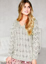 Шелковый пуловер с сочетанием ажурных узоров. Спицы