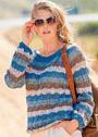 Ажурный хлопковый пуловер в полоску. Спицы