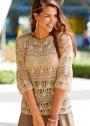 Ажурный пуловер со спущенными петлями. Спицы