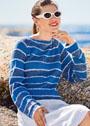 Сине-белый летний пуловер в полоску. Спицы