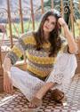 Трехцветный летний пуловер с полосами ажурного узора. Спицы