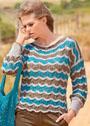 Льняной пуловер с волнистым узором. Спицы